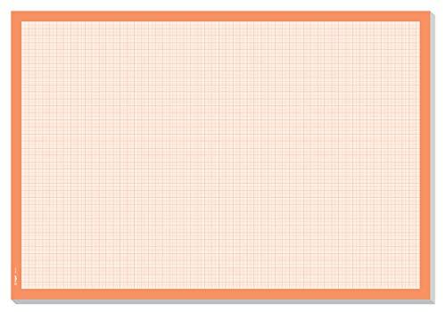SIGEL HO270 Sottomano da scrivania, carta millimetrata, a quadretti, A 2, arancione 30 fogli