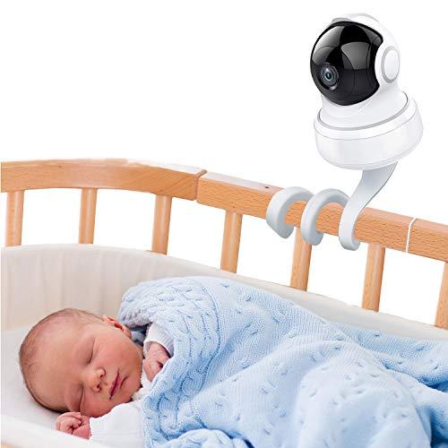 auvstar Soporte Universal para Monitor de Bebé,Soporte Camara Bebe Soporte Vigilabebes para Cuna,Sin Daños en la Pared, Apto para Sin Perforación para todas las demás cámaras con 1/4 tornillo (Blanco)