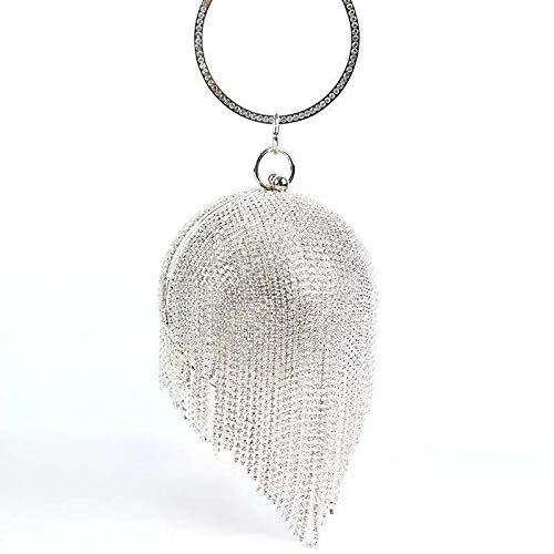 RUNNAN Bolso para mujer, bola redonda de cristal de noche para mujer, bolso de fiesta de boda con borla (PLATA)