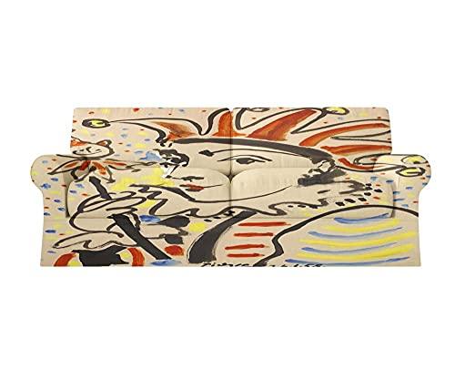 Fundas Sofa elasticas 1/2/3/4 plazas Cubre Sofa Fundas para Sofa Decorativas Fundas de Sofa Ajustables Fibra superfina 1 Pieza(Picasso Pintura al óleo de la Reina,4 plazas:235cm-300cm)