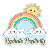 Stickeroonie Cute Rainbow Sticker, 4' x 4' Rainbow Vinyl Stickers, Inspirational Stickers for Water Bottle Laptop, Radiate Positivity Stickers, Skateboard Stickers, Car Stickers, Phone Stickers