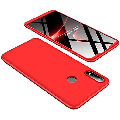 Yoodi Capa Zenfone Max Pro (M2) ZB631KL, cobertura total 360 3 em 1 de policarbonato rígido fosco removível antiarranhões à prova de choque para Asus Zenfone Max Pro (M2) ZB631KL - Vermelho