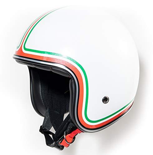 Jet Helm Roller-Helm, Italien-Flagge, Tricolore, Italia Rot Weiß Grün Vespa-Helm, Helmet, Cruiser Mofa Roller-Helm Pilot Retro Chopper Jet-Helm Scooter-Helm Motorrad-Helm Klassisch Vintage · ECE (S)