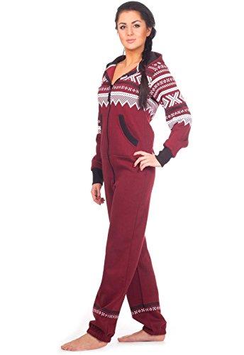 Loomiloo® Jumpsuit Freizeitanzug Overall Hausanzug Einteiler Strampler Body Anzug Jumpsuits Overalls Pyjama Norweger Muster (Weinrot) - 2