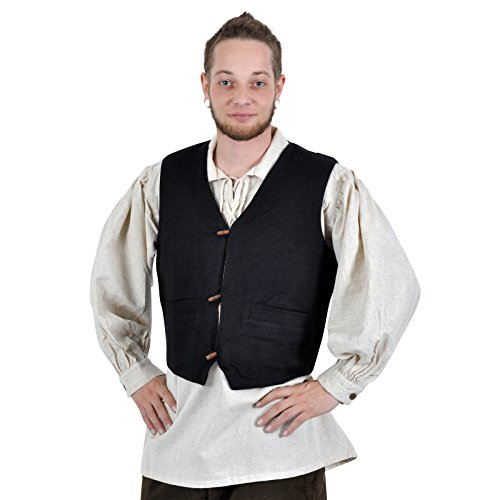 Chaleco medieval tejido a mano - hombre - con dos bolsillos - botones de madera - forrado con algodón - negro - XXL