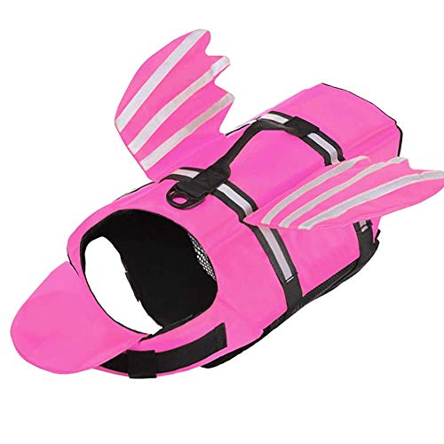 Chaleco de vida de perro Ripstop PET flotación chaleco, seguridad reflectante Doggy Lifesaver Freserver con rescate y alas encantadoras, chaleco de natación para pequeños perros medianos y grandes