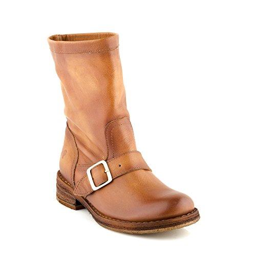 Felmini - Zapatos para Mujer - Enamorarse com Cooper A417 - Botas Cowboy & Biker - Cuero Genuino - Marrón Claro - 37 EU Size