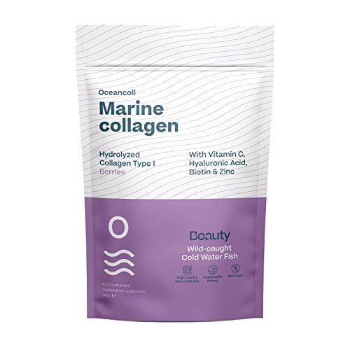 Oceancoll Beauty | Hydrolysiertes Meereskollagen mit Hyaluronsäure, Vitamin C, Biotin und Zink | Anti-Aging-Formel | Speziell für Haut, Haare und Nägel | Waldbeeren-Geschmack | 60 Dosen