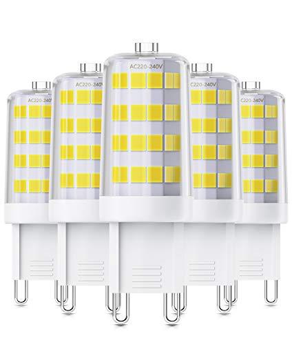 QNINE Leuchtmittel G9 LED, GU9 LED Birnen Kaltweiß(6000K), 4W(Ersetz 40W Glühbirne), 5 Stück, 400 Lumen, Nicht Dimmbar, LED Lampe/Birne mit Stiftsockel [Energieklasse A+]