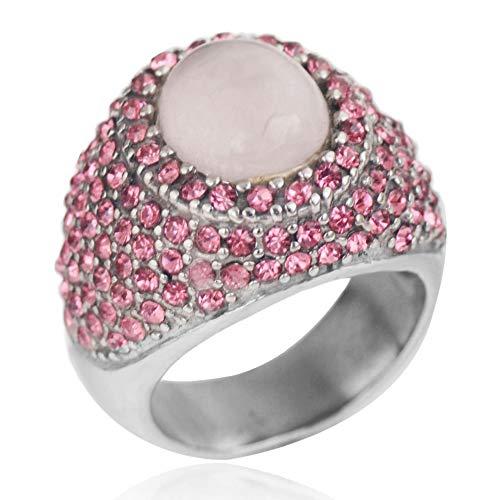 Vintage roestvrij stalen sieradenroze kwartsen roze kristallen prinses Diana verlovingsring voor vrouwen