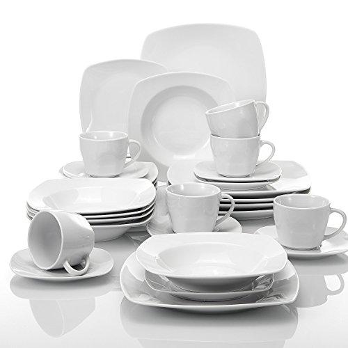 MALACASA Serie Julia, Tafelservice 30-teilig Kombiservice Porzellan Geschirrset mit je 6 Kaffeetassen, 6 Untertassen, 6 Kuchenteller, 6 Suppenteller und 6 Flachteller Kaffeeservice für 6 Personen