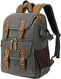 Retro Batik Canvas Camera Bag Large Capacity Outdoor Backpack Suitable for SLR Camera Case Khaki (ArmyGreen)