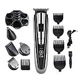 Cortapelos Hombre Profesional,kit de corte de cabello recargable inalámbrico para barberos con pantalla LED, 5 en 1, resistente al agua, corte de pelo, esculpir,afeitado, corte de pelo de la nariz