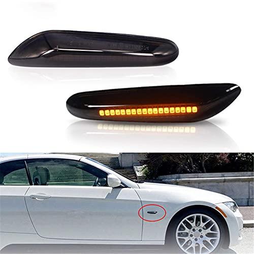 LIXHZJ 1 Pares Blinker Lámpara Humo Lente LED Señal de Giro Dinámico Que Fluye Lado Marcador Luz Para B MW 1/3/5 Serie E46 E60 E87 E90 E92 X1X3* Producto No.:WW-389
