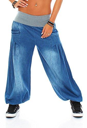 Malito Damen Pumphose im Denim Style | perfekte Jeans zum Tanzen | Aladinhose zum Chillen | Haremshose - Goa 6258 (hellblau)