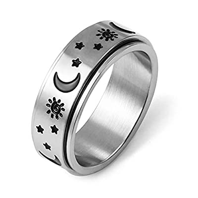HZMAN Moon Star Sun Fine Tuning Rotating Ring Stainless Steel Boho Jewelry for Women Men Sizs 5-12