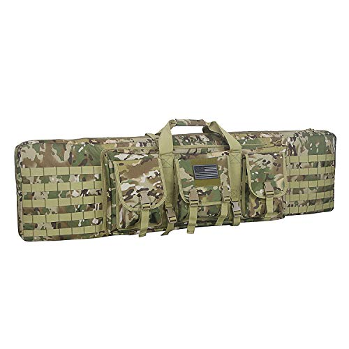 Warriors Product 48 Inch Double Long Rifle Gun Case Bag Outdoor Tactical Carbine Cases Water Dust Resistant Fireproof for Hunting Shooting (OCP, 48IN)