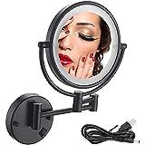 ZAIGI Espejo de Aumento Iluminado Montado en la Pared de 8 Pulgadas 3X / 5X / 7X / 10x Espejo de Maquillaje Montado en la Pared Espejo de Tocador Extensible Giratorio de 360 ° de Doble Cara para Baño