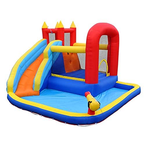 Castillo Hinchable Y Casa De Piscina Bomba Inflable De Trampolín Inflable Juego Al Aire Libre, Un Castillo Paradisíaco para Niños con Toboganes De Agua, Adecuado para Uso Comercial