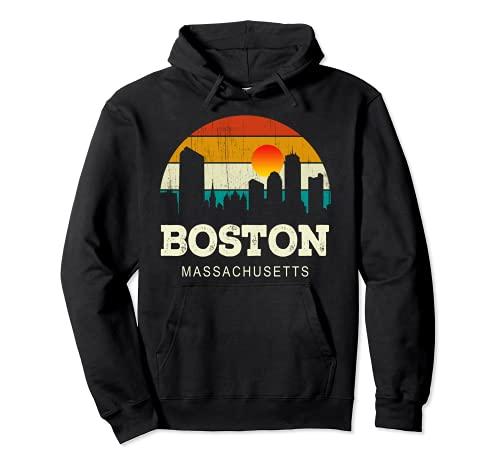 Vintage Retro Style USA Skyline Massachusetts Boston City Sudadera con Capucha