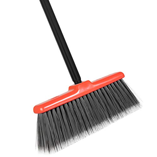 Fuller Brush Fiesta Red Kitchen Broom – Heavy Duty Floor Sweeper with Steel Handle & Fine Bristles - Dust Sweeping for Home/Commercial Kitchen & Warehouse Floors – Made in USA