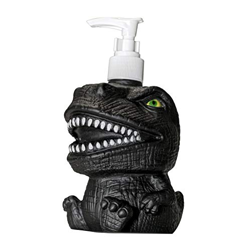 GoFika Vinyl Dinosaur Refillable Hand Soap Pump Dispenser Lotion Shampoo Sanitizer Bottle 11.8oz Kids Adults Friendly for Kitchen and Bathroom Accessories Cute Animal Look (Black)