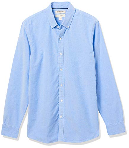 Goodthreads Slim-Fit Long-Sleeve Solid Oxford Shirt Camicia, Blu (Blue), Medium