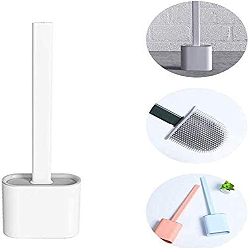 LDKJ Revolutionary Silicone Flex Toilet Brush with Holder, Toilettenbürste Silikon, WC Bürste mit Halter - mit Schnell Trocken Behälter und Edelstahl Griff-Kreatives Reinigungsbürsten Set (White)