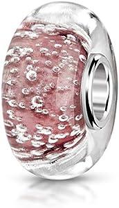 MATERIA objetos de cristal de Murano Beads rosa Luftblässchen Element - 925 de plata con cuentas de cristal de Murano rosa incluye bolsa de satén #562