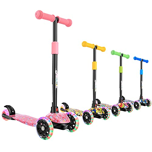 Hikole Scooters for Kids, 3 Wheel Scooter for Girls & Boys, Adjustable Height, Lean to Steer, Extra-Wide Deck, PU Light Up Wheels for Children from 3-8 Years Old