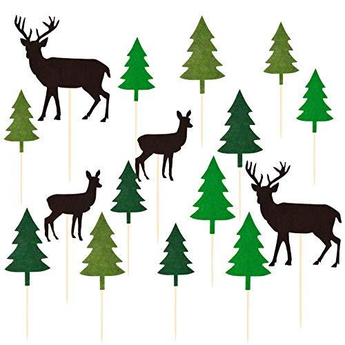 Zaleonline 16 STK Weihnachtskuchen Topper Weihnachtskuchen Deko Weihnachtsbaum Elche Nettes Muster DIY Kuchen Weihnachtskuchen Einsatz für Weihnachtsdeko