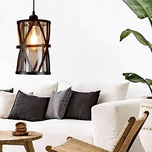 Depuley LED Pendelleuchte Vintage 1 Flammig Retro Hängelampe mit E27 Fassung Schwarz, Hängeleuchte im Industrial Design, Verstellbare Pendellampe aus Stahl für Esszimmer, Schlafzimmer (Ohne Birne)