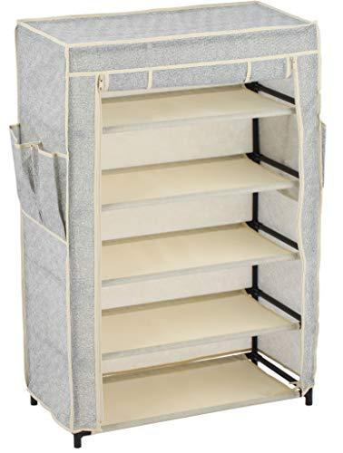 MSV Schuhregal mit 5 Ebenen, mit staubdichtem Überzug, Schuhschrank, Schuhaufbewahrung, Schuhorganizer Camping, für bis zu 15 Paar Schuhe, für Wohnzimmer, Flur, 60 x 30 x 72 cm, grau