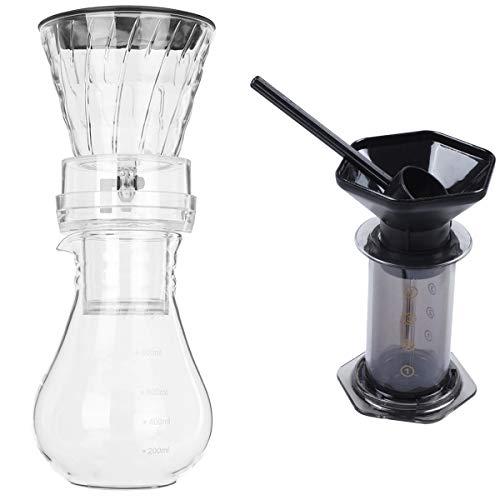 Cuasting Vidrio de hielo frío agua goteo cafetera Brew Pot Gotero 800 ml y prensa cafetera cafetera prensa aire máquina espresso