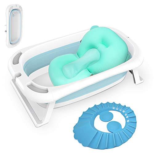 Babybadewanne, Faltbar Kinderbadewanne mit Gestell Hängende Matratze Thermometer PP Blau