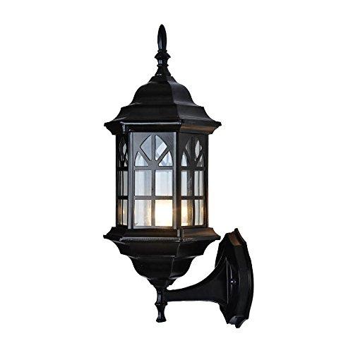 Vampsky Vintage Continental Lantern Lámpara de pared al aire libre Moderno Antiguo Cristal de Victoria Luz de pared a prueba de agua Pasillo Lámpara de noche Balcón Hotel E27 Decoración Patio Jardín V