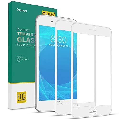 Deyooxi 2 Pezzi Vetro Temperato per iPhone 7/iPhone 8/iPhone SE 2020,Curva Full Screen Pellicola Protettiva Screen Protector Film per iPhone 7/8 /SE 2020,Copertura Completa Protezione Schermo, Bianco