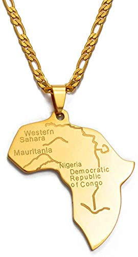 YZXYZH Collar Mapa De Color Dorado De África Collares Pendientes para Mujeres/Hombres Mapas Africanos Joyería Regalos Etíopes 60Cm