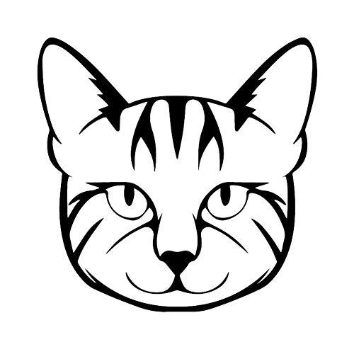 2 piezas de etiqueta de la ventana 15.1X14.9CM Interesante animal de la historieta del coche del vinilo de la cara del gato Negro/Plata (Color Name : Black)