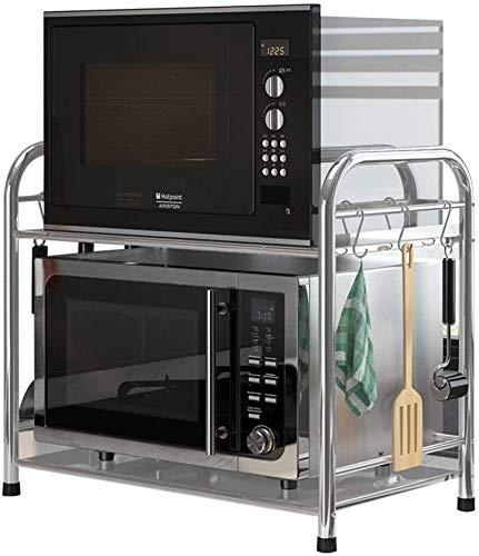 ZouYongKang Soporte de microondas, 2 o hornos de microondas multifuncionales de 2 niveles encimeras, estante de cocina de plateado de malla fina de acero inoxidable, soporte de contador de cocina de a