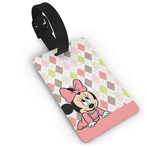 DNBCJJ Etiquetas de equipaje para maletas Minnie Mickey Mouse Fondo etiqueta de equipaje, con nombre ID maleta para mujeres, hombres, niños y accesorios de viaje