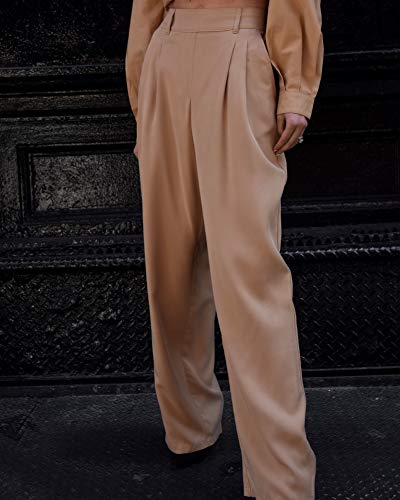 The Drop Women's Tan Double Pleated High-Waist Wide Leg Extra Long Pull-On Pant by @lisadnyc