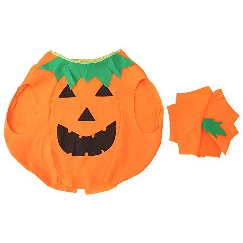 WINOMO Costume da Zucca di Halloween per Bambini Simpatico Costume Non Tessuto di Zucca Lanterna di Halloween con Cappello a Cuffia (Arancione)