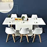 HOMY CASA Dining Table Extensible Flexible Seating Wooden Oak White Desk 160-205cm for 6 to 8 Persons for Dining Room, Farmhouse, Kitchen, Restaurant Even Any Small Space High Light