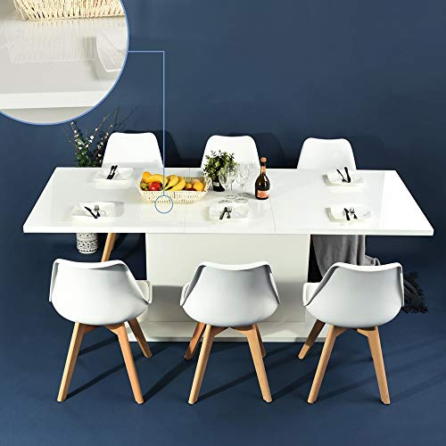 HOMY CASA Extensible Dining Table Flexible Seating Wooden Oak White Desk 160-205cm for 6 to 8...