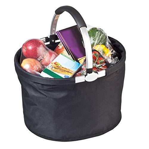 Carryking Faltbarer Einkaufskorb Rund mit Aluminiumgriff Geräumig und Stabile Einkaufstasche 30 Liter Volumen(Klein - 30 Liter)