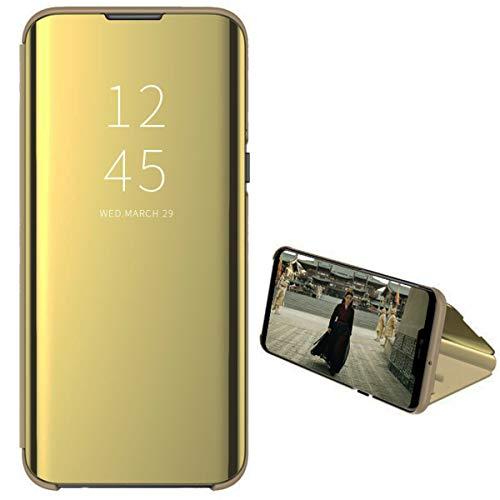 NOKOER Funda para Huawei Y9 Prime 2019, Funda Cuero Espejo Phone Cover, Ultrafina Soporte Vertical Case Cover [A Prueba de Golpes] para Huawei Y9 Prime 2019 - Dorado