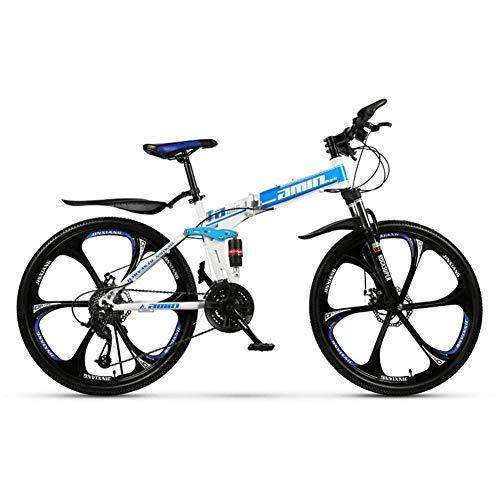 26-Zoll-21/27-Gang Folding Mountain Off-Road-Fahrrad, 8-Sekunde-Schnell Falten, Double-Shock 6-Cutter Bike, vorne und hinten Doppelscheibenbremsen (Farbe: Gelb, Größe: 21) yqaae