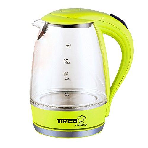 Timco JE-V02 Jarra Eléctrica de Vidrio, 1.7 Litros, color verde