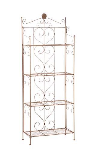 CLP LENJA stabiles Standregal im Landhausstil I Klappbares Eisenregal mit 4 Regalböden I erhältlich, Farbe:antik braun